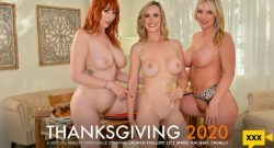 """Lauren Phillips, Lilly James & Rachael Cavalli – Close friends, Lauren Phillips, Lilly James, and Rachael Cavalli have their share of """"stuffing"""" for Thanksgiving – VR"""